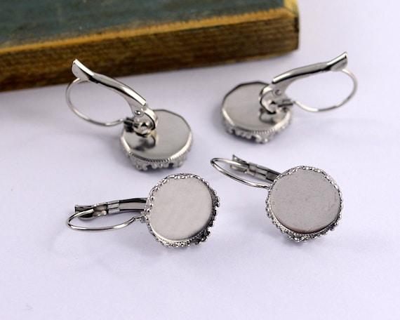 50pcs 10mm Round Bezel French Lever Earrings Base Blanks Earrings Findings