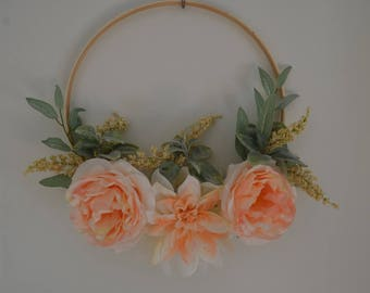 Hoop Wreath, Spring Wreaths, Modern Hoop Wreath, Spring Decor, Nursery Decor