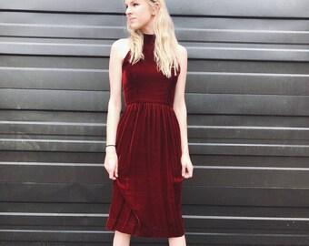Vintage Red Velvet Albert Nipon Midi Dress / Size Small 4 / Burgandy 1980s