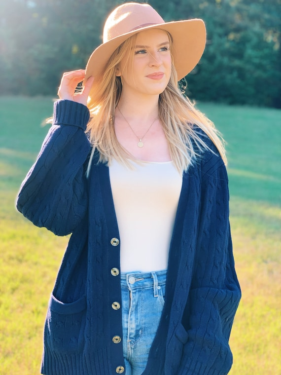 Vintage Navy Blue Cardigan Sweater / Thick Cable K