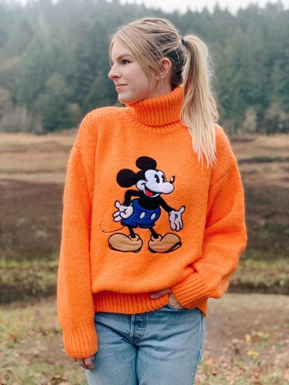 Vintage Mickey Mouse Logo Turtleneck Sweater