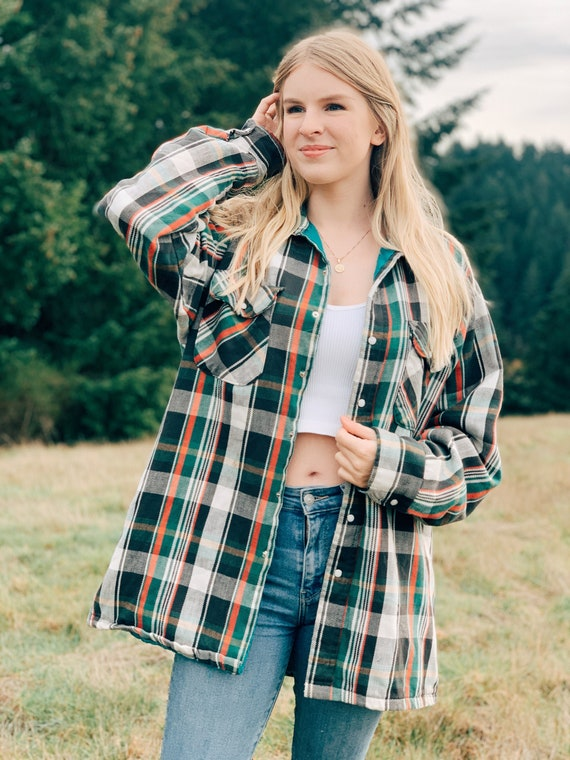 Vintage Plaid Shacket / Oversized Plaid Shirt Jack