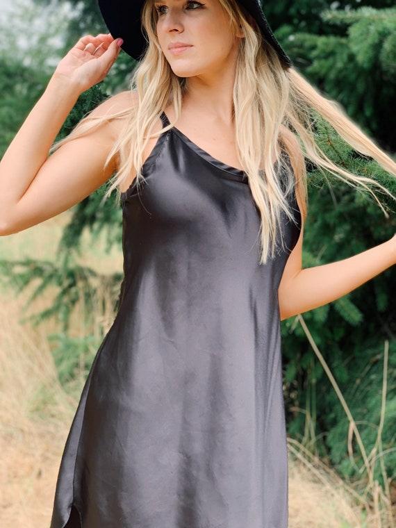 Vintage Black Silky Slip Dress