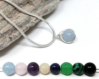 Custom Gemstone Necklace / Minimalist silver wire wrapped jewelry / Chain & gift box included / Handmade by Obsessions by Crystal
