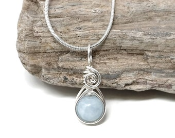 Aquamarine gemstone pendant, dainty silver wire wrapped jewelry, handmade gift, chain and gift box included, Made by Obsessions by Crystal