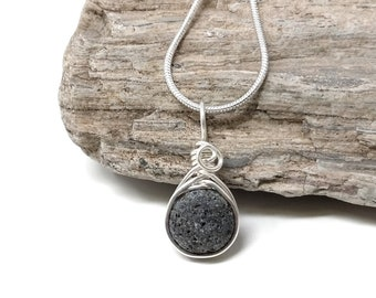 Raw Lava rock necklace, essential oil diffuse jewelry, Handmade dainty silver necklace for women, wire wrapped by