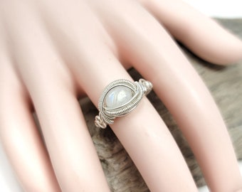 Moonstone Gemstone ring size 9.5 / Silver wire wrapped jewelry / Gift box included / Handmade by Obsessions by Crystal