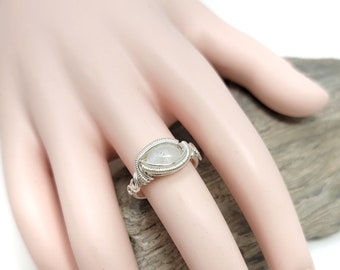 Moonstone Gemstone ring size 7.5 / Silver wire wrapped jewelry / Gift box included / Handmade by Obsessions by Crystal