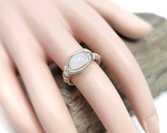 Moonstone Gemstone ring size 8.5 / Silver wire wrapped jewelry / Gift box included / Handmade by Obsessions by Crystal