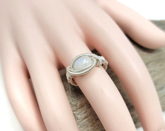 Moonstone Gemstone ring size 8 / Silver wire wrapped jewelry / Gift box included / Handmade by Obsessions by Crystal