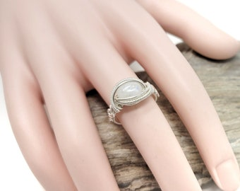 Moonstone Gemstone ring size 6 / Silver wire wrapped jewelry / Gift box included / Handmade by Obsessions by Crystal