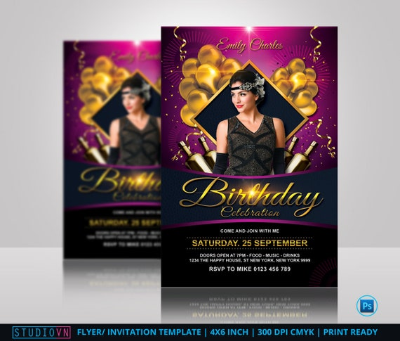 Birthday Flyer Template Birthday Invitation Birthday Party Anniversary Flyer Photoshop Template Instant Download