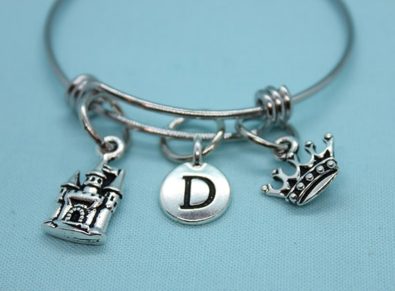 Princess Charm Bracelet, Princess Bangle Bracelet, Princess Castle Jewelry, Initial Charm, Gift for Girl