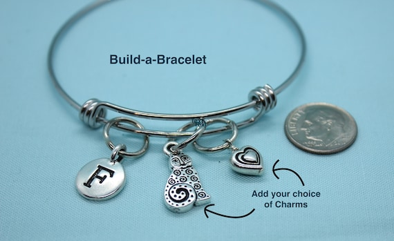 Charm Bracelet, Bangle Bracelet for Girls, Build-a-Bracelet, Silver Charm, Custom Jewelry, Custom Bracelet, Christmas Jewelry, Gift for Her