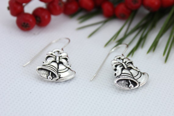 Christmas Bell Earrings, Sterling Silver, Christmas Jewelry, Elegant Jewelry, Dangle Earrings, Holiday Bells, Holiday Jewelry
