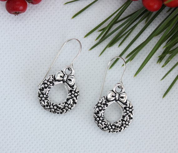 Christmas Earrings, Christmas Jewelry, Christmas Wreath Earring, Christmas Charm, Sterling Silver, Elegant Jewelry, Dangle Earrings