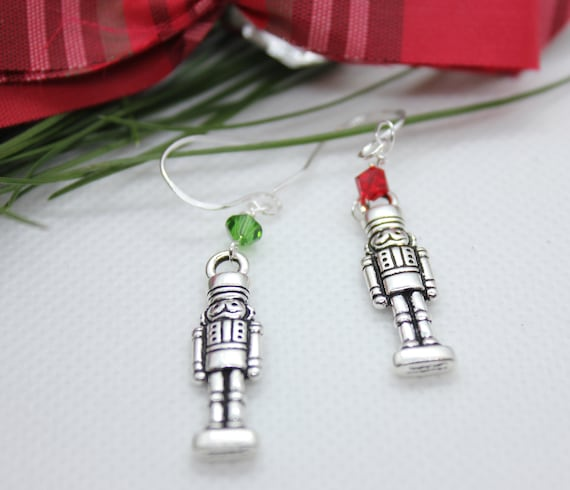 Christmas Earrings, Nutcracker Jewelry, Christmas Jewelry,Nutcracker Earrings, Christmas Charm, Elegant Jewelry, Dangle Earrings, Silver