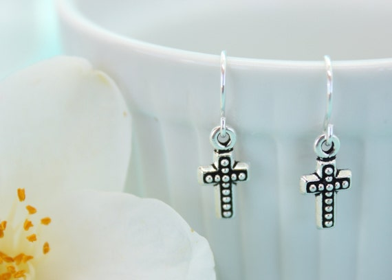 Small Silver Cross Earrings, Christian Jewelry, Simple Cross Jewelry, Silver Dangle Earrings, Communion Gift for Girl, Baptism Gift
