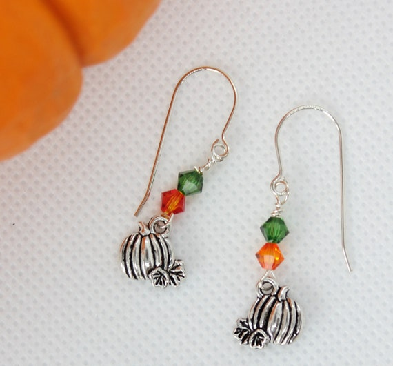 Pumpkin Earrings, Fall Jewelry, Autumn Jewelry, Harvest Earrings, Halloween Earrings, Pumpkin Charm, Elegant Jewelry, Silver Dangle Earrings
