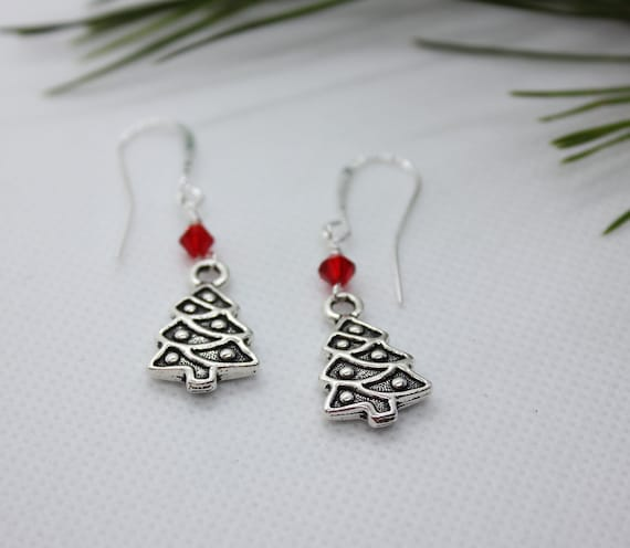 Christmas Earrings, Christmas Jewelry, Christmas Tree, Christmas Tree Earring, Christmas Charm, Elegant Jewelry, Dangle Earrings, Silver
