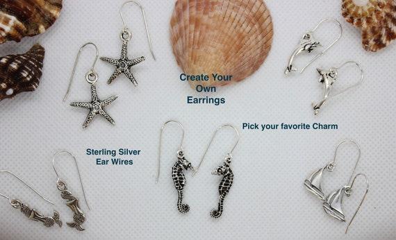 Custom Earrings, Sterling Silver Earrings, Silver Charms, Christmas Gift for Her, Personal Earrings, Custom Jewelry, Beach Earrings