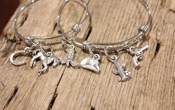 Western Charm Bracelet, Cowgirl Bangle Bracelet, Western Jewelry, Western Charms, Silver Bracelet, Cowgirl Silver Charm, Horse Charm, Cactus
