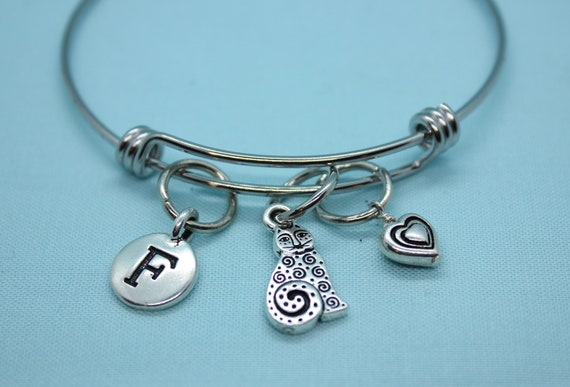 Cat Bracelet, Cat Bangle Bracelet, Heart Bracelet, Cat Jewelry, Valentines Day Jewelry, Initial Bracelet, Cat Charm, Silver Bangle Bracelet