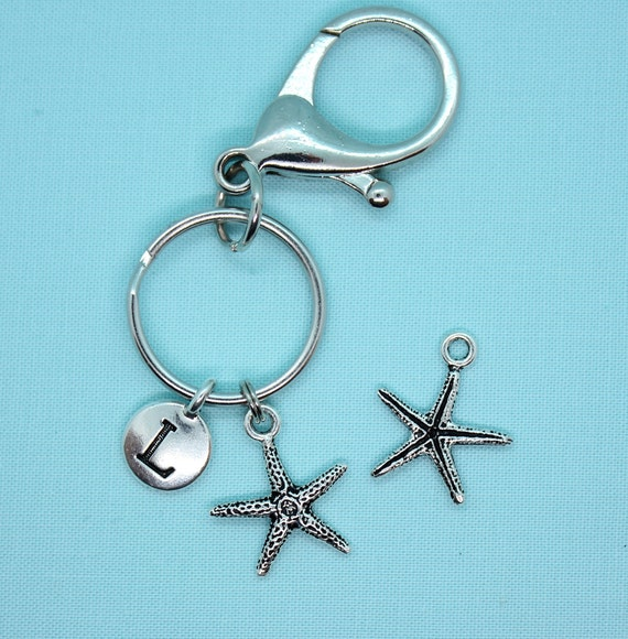 Starfish Keychain Personalized, Seashell Keychain, Key Ring Personalized, Nautical Charm, Silver Key Chain, Custom, Backpack Tag, Beach