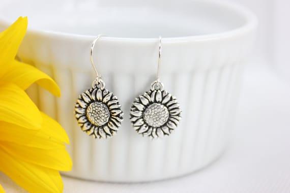 Sunflower Earrings, Sunflower Jewelry, Silver Sunflower Charm, Sunflower Lover Gift, Sunflower Dangle Earrings