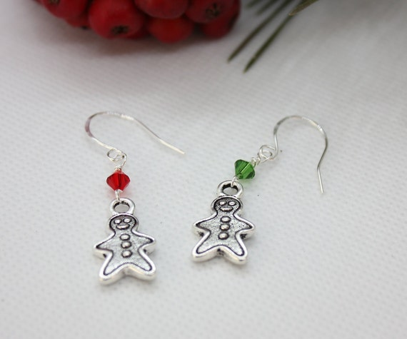Gingerbread Earrings, Gingerbread Jewelry, Christmas Earrings, Christmas Jewelry, Dangle Earring, Christmas Charm, Swarovski Crystal