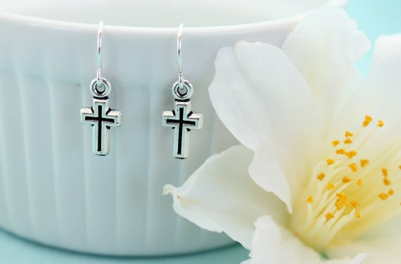 Silver Cross Earrings, Small Cross Jewelry, Christian Jewelry, Simple Cross Jewelry, Dangle Earrings, Gift for Communion, Baptism Gift