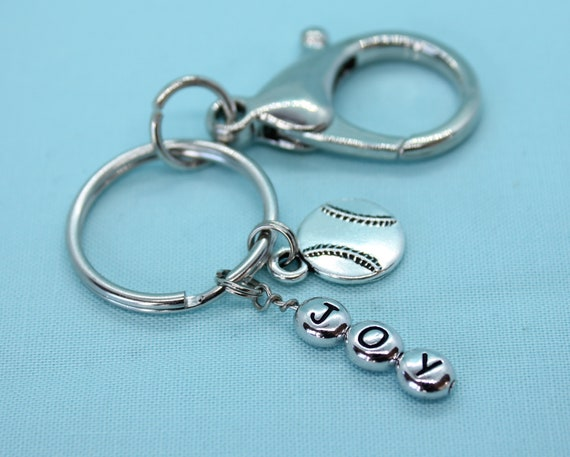 Softball Keychain Personalized, Softball Key Ring, Softball Lover Gift, Silver Charm, Zipper Pull, Keyring Initial
