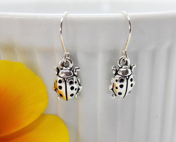 Ladybug Silver Earrings, Ladybug Jewelry, Insect Jewelry, Charm Dangle Earrings, Gift for Her, Ladybug Lover, Spring Jewelry