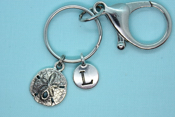 Sand Dollar Keychain Personalized, Seashell Keychain, Nautical Silver Charm, Silver Keyring, Backpack Tag, Initial Charm