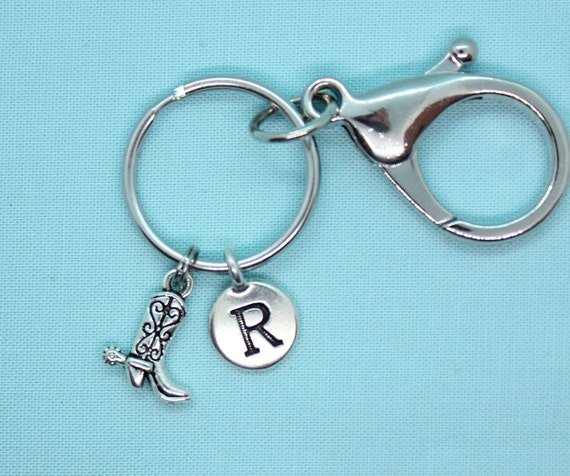 Cowboy Boot Keychain Personalized, Key Ring Personalized, Boot Charm, Western Charm, Cowgirl, Silver Charm, Key Chain, Custom, Backpack Tag