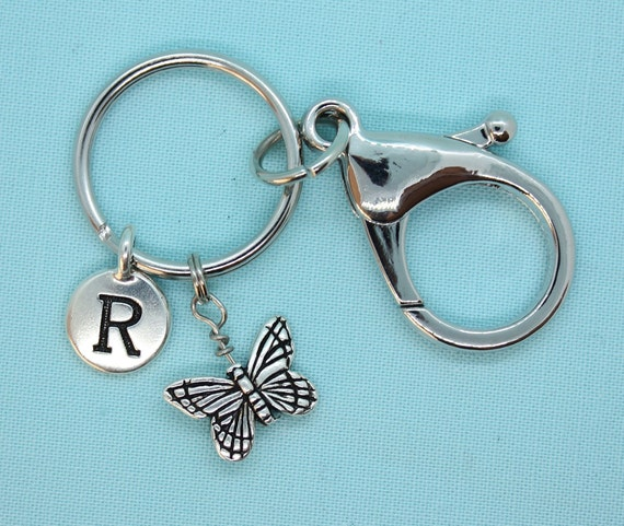 Butterfly Keychain, Key Ring Custom, Butterfly Charm,  Butterfly Keyring, Silver Keyring, Backpack Tag, Animal Keyring, Butterfly Lover Gift