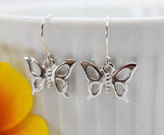 Butterfly Silver Earrings, Butterfly Jewelry, Insect Jewelry, Charm Dangle Earrings, Gift for Her, Butterfly Lover, Spring Jewelry