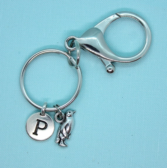 Penguin Keychain Personalized, Penguin Keyring, Car Accessory, Keyring Initial, Penguin Lover Gift
