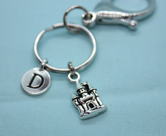Castle Keychain, Princess Castle Keyring, Stainless Steel, Princess Castle Charm,  Backpack Tag Girl