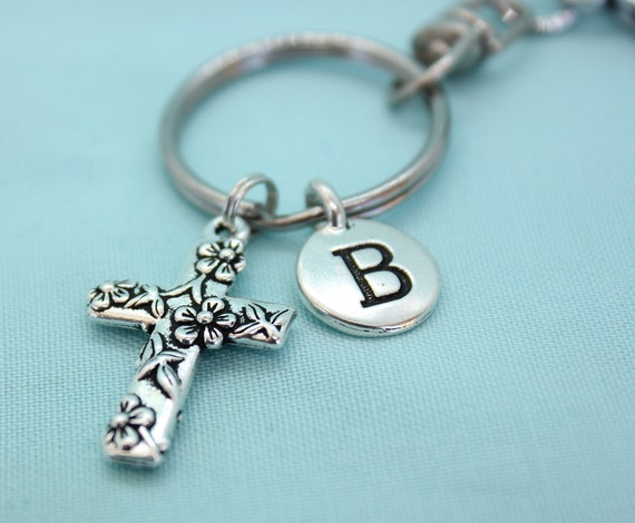 Cross Keychain, Stainless Steel Keychain with Clip, Silver Cross Charm, Custom Cross Key Chain, Religious Keychain, Christian Floral Cross