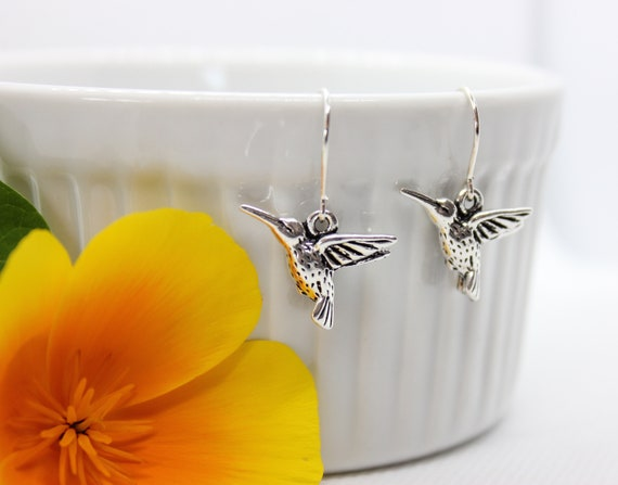 Silver Hummingbird Earrings, Hummingbird Jewelry, Silver Hummingbird Charm, Hummingbird Lover Gift, Dangle Earrings