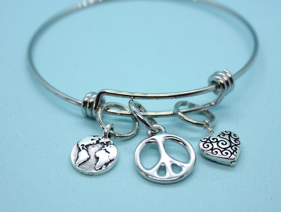 World Peace Charm Bracelet, Earth Bangle Bracelet, Earth Bracelet, Globe Charm Bracelet, Globe Bangle Bracelet, World Peace Jewelry, Globe
