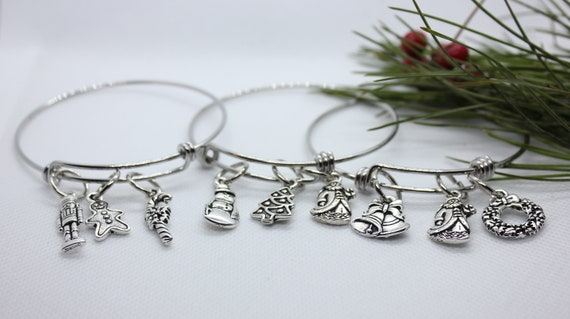 Christmas Charm Bracelet, Christmas Bangle Bracelet, Build a Bracelet, Christmas Jewelry, Christmas Charms, Silver Charms, Custom