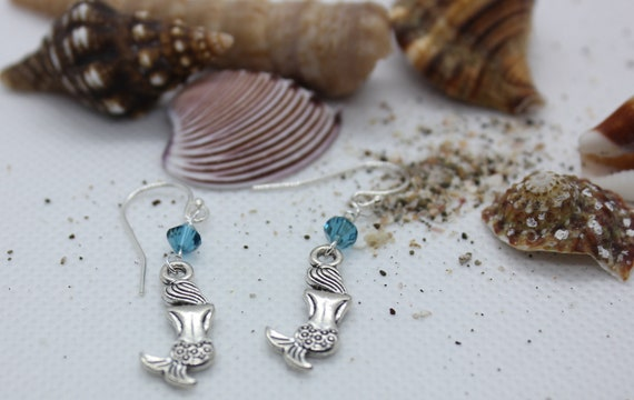 Mermaid Earrings Dangle, Sterling Silver Dangle , For Women, Swarvoski Aqua Crystal, Mermaid Lover, Nautical Charm, Mermaid Charm, Ocean