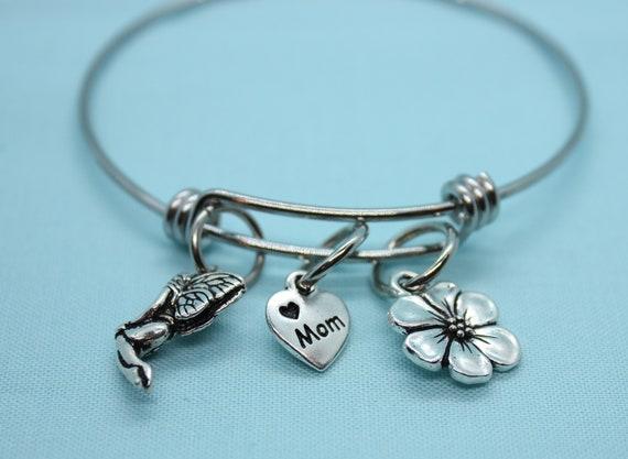Garden Fairy Bracelet, Fairy Bangle Bracelet, Mystical Bracelet, Heart Bracelet, Mother Valentine Jewelry, Flower Bracelet, Whimsical Charm