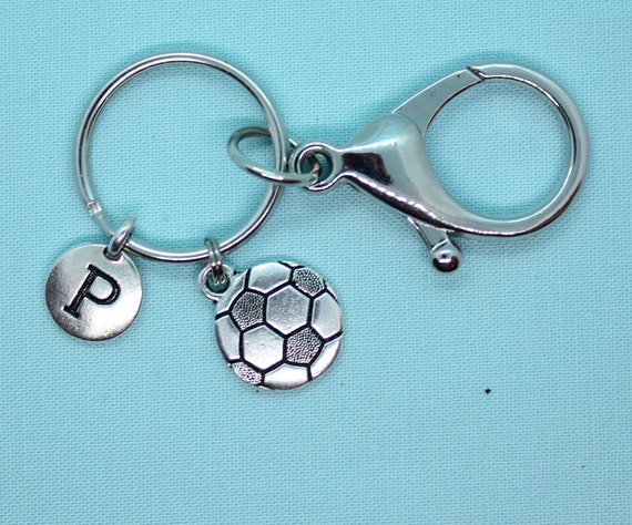 Soccer Keychain Personalized, Soccer Keyring, Car Accessory, Soccer Lover Gift, Sports Backpack Tag, Keyring Initial