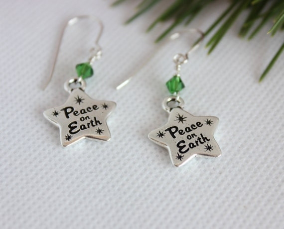 Christmas Earrings, Christmas Jewelry, Christmas Star Earring, Peace On Earth, Christmas Charm, Elegant Jewelry, Dangle Earrings, Silver