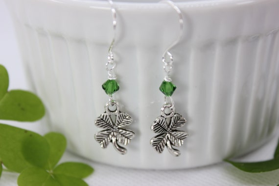 Shamrock Earrings, Shamrock Jewelry, St Patrick's Day Earrings, Clover Charms, Dangle Earrings, Sterling Silver
