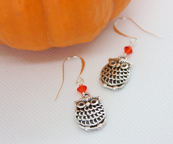 Owl Earrings, Owl Jewelry, Fall Jewelry, Halloween Jewelry, Owl Charms, Elegant Jewelry,  Halloween Earrings, Fall Earrings, Silver Earrings