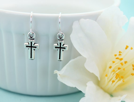 Silver Cross Earrings, Small Cross Jewelry, Christian Jewelry, Simple Cross Jewelry, Dangle Earrings, Communion Gift for Girl, Baptism Gift